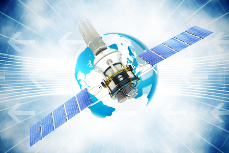 3d image of blue modern solar satellite against global business graphic in blue Stock Photo