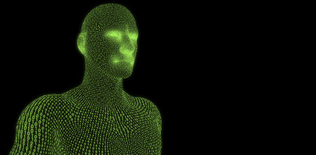 Digitally generated 3d man against black background Stock Photo