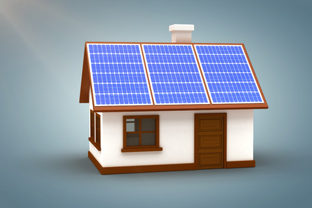 doctor tablet: Vector image of 3d house with solar panels against grey vignette Stock Photo