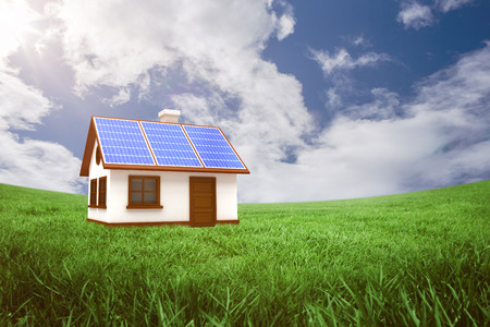 doctor tablet: 3d illustration of house with solar panels against green field under blue sky Stock Photo
