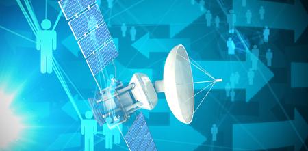 Illustrazione 3d del satellite blu di energia solare contro le frecce blu su fondo nero Archivio Fotografico - 78598890