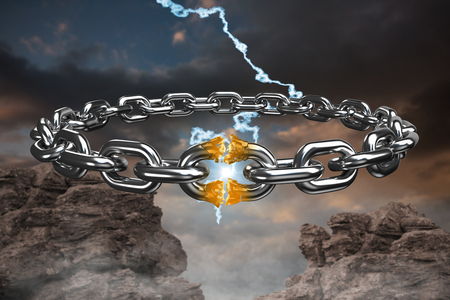 3d image of broken silver chain  against blue and orange sky with clouds Stok Fotoğraf