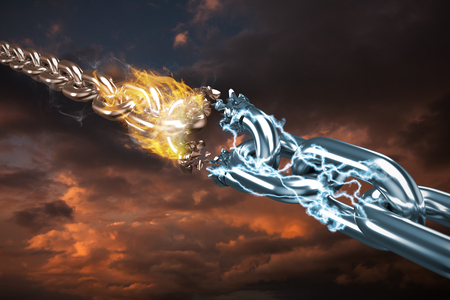 discontinued: 3d image of damaged silver chain  against blue and orange sky with clouds