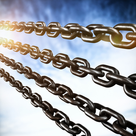 Closeup 3d image of silver chains against view of cloudy sky