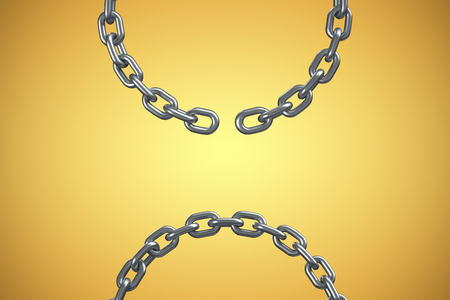 3d image of broken silver chain against yellow vignette Stock Photo