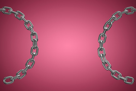 computer animation: Close up 3d image of broken round chain against red and white background
