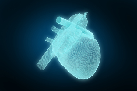 3d illustration of human heart  against blue background with vignette Stock Photo