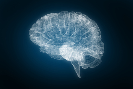 3d image of human brain against blue background with vignette