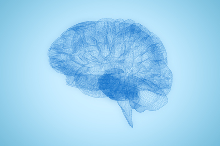 3d image of human brain against blue background