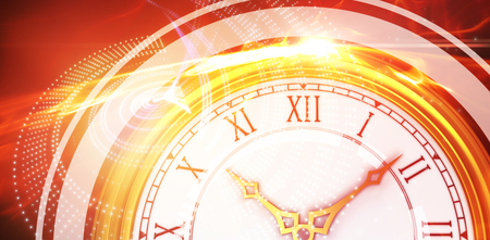 Illustrative image of a clock against glowing abstract design Stock Photo