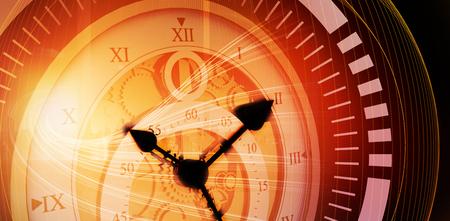 Close-up of vintage pocket clock against orange abstract wave design