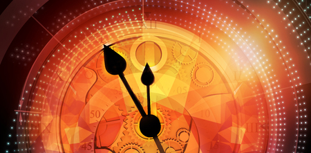 Pocketwatch against computer generated image of orange abstract patterns Stock Photo