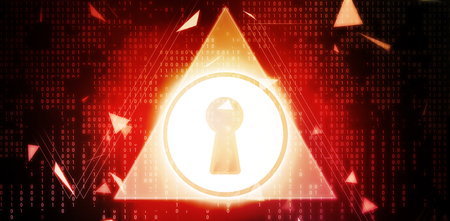 Digitally generated image of key hole with triangle shape against red background with vignette