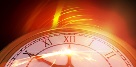 Analog clock over white background against glowing abstract design