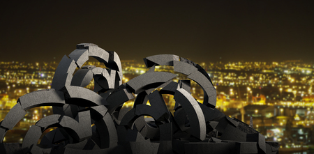 3d composite image of various broken symbols  against illuminated city against sky at night