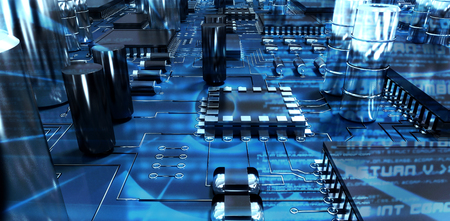Close up of circuit board against abstract blue text Stock Photo