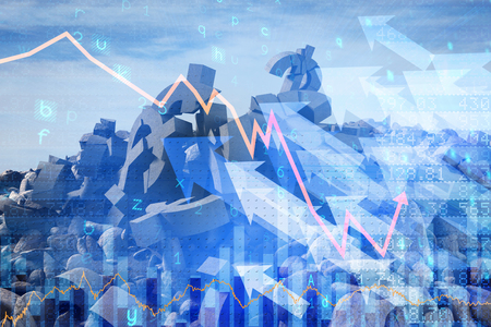 non stock: 3d composite image of damaged currency symbols against stocks and shares