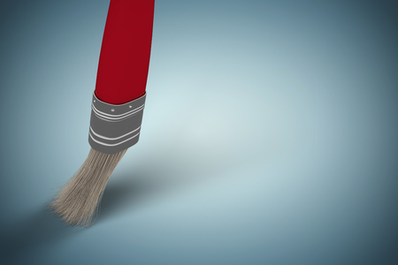 Computer graphic image of red paintbrush against grey vignette