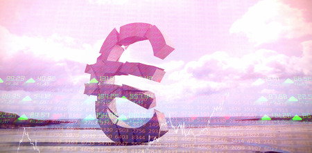 3d composite image of Euro symbol  against stocks and shares