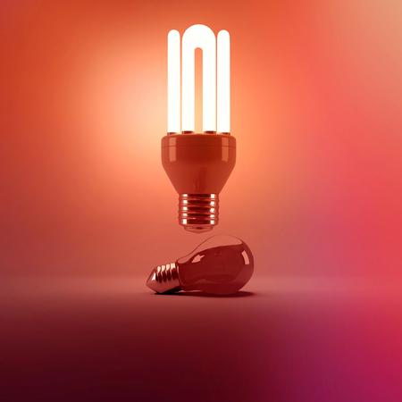 Digital image of illuminated energy efficient lightbulb over bulb on gray background Stock Photo