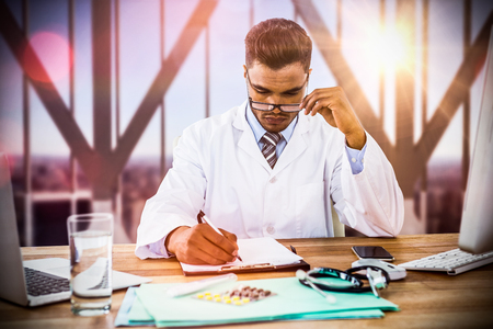 Doctor writing on clipboard at desk against city skyline