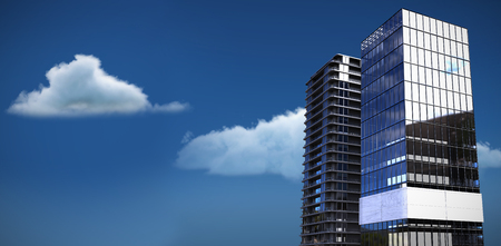 3d illustration of glass buildings against low angle view of white clouds against sky Stock Photo