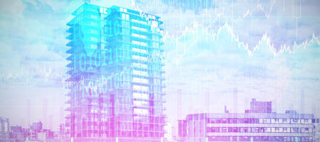 3d image of modern office building against stocks and shares