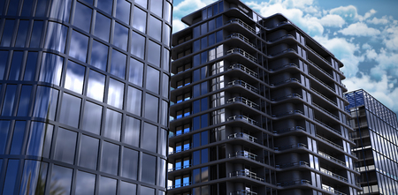 Vector image of 3d office buildings against tranquil scene of clouds against sky Stock Photo