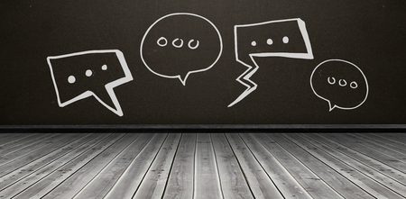 floorboards: Composite image of various speech bubbles against white background against dark room Stock Photo