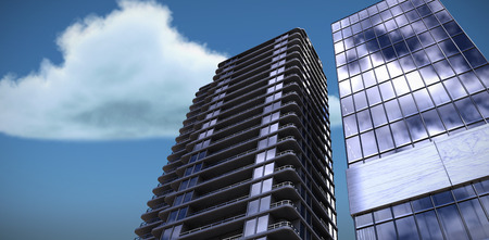 3d image of glass buildings against low angle view of clouds against sky