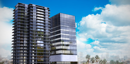3d composite image of office buildings against scenic view of blue sky