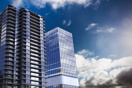 smart goals: Composite image of3d office buildings against sky with clouds Stock Photo