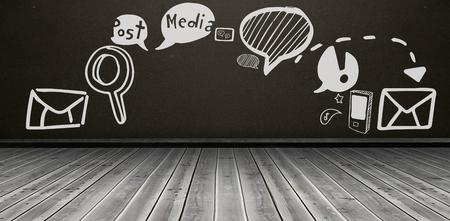 floorboards: Digitally generated image of social media icons against dark room