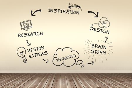 flooring: Composite image of brain storming cycle against room with wooden floor Stock Photo