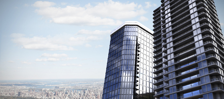 3d illustration of glass buildings against aerial view of new york Stock Photo