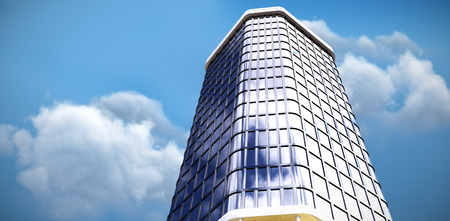3d illustration of modern office building  against scenic view of cloud against sky