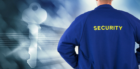 artificial lights: Rear view of security officer in uniform against virus background