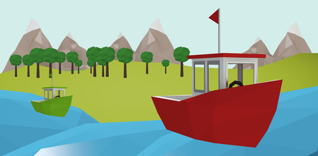 Red boat over white background against illustrative image of tree Stock Photo