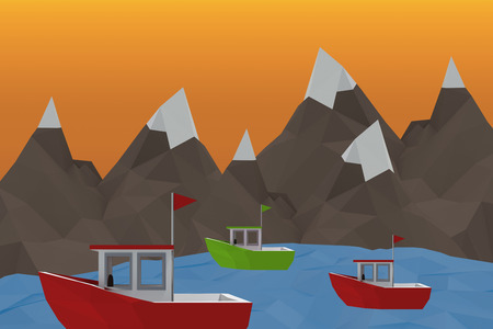 equation: Three dimensional image of red boat against orange sky