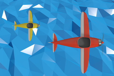 quadratic: Graphic image of 3D yellow plane against blue sky background Stock Photo