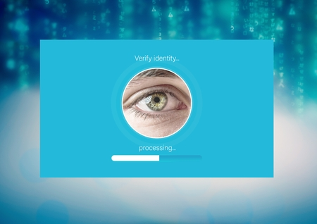 software portability: Digital composite of Identity eye Verify App Interface Stock Photo
