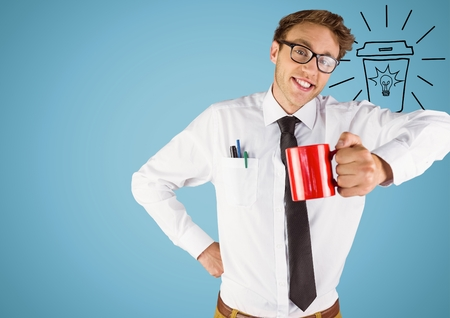 Digital composite of Business man with red mug and lightbulb doodle against blue background Stock Photo