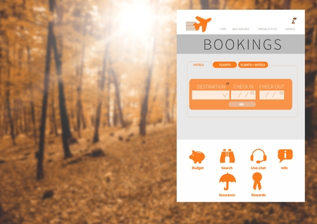 booked: Digital composite of holiday break App Interface in forest