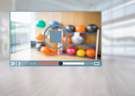 pause button: Digital composite of Fitness Exercise Video Player App Interface