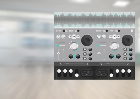 booked: Digital composite of Sound Music and Audio production engineering equalizer App Interface