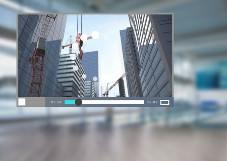 Digital composite of City Video Player Architecture App Interface Stock Photo