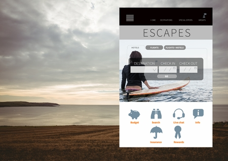 software portability: Digital composite of Escapes Holiday break App Interface with sea