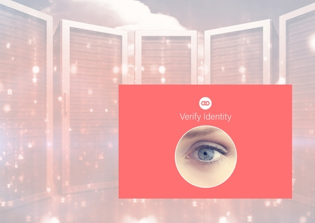 Digital composite of Identity eye Verify App Interface Stock Photo