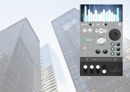 Digital composite of Sound Music and Audio production engineering equalizer App Interface in city