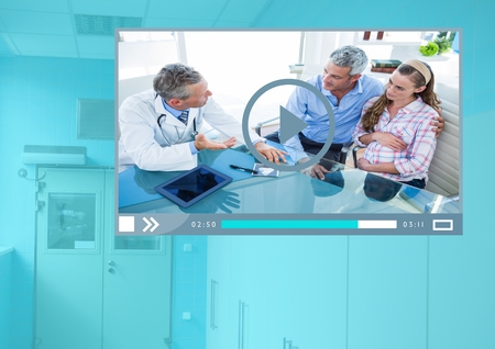 Digital composite of Medical Doctor Video Player App Interface Stock Photo